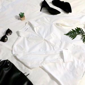 {calvin klein} white button-down shirt